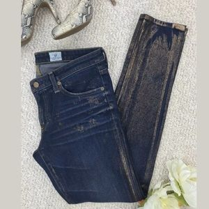 AG The Legging Jeans Dark Wash w/ Metallic Accents